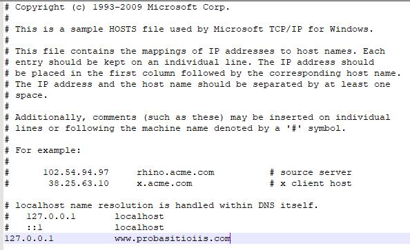 Archivo:Modificar ficheiro hosts para sitio iis.PNG