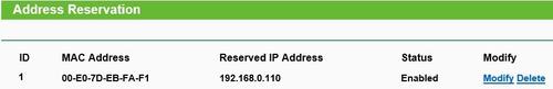 Asignación estática DHCP no router TP-Link