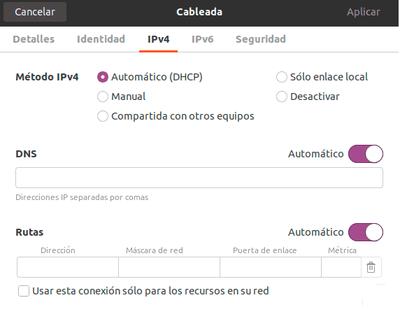 Configuración de rede ipv4 en Ubuntu 20.04